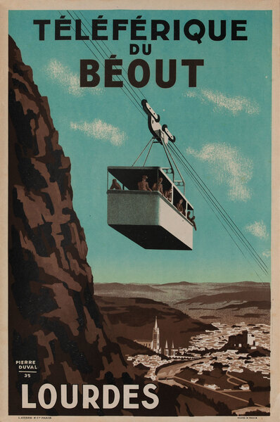 France Original Vintage Travel Poster Telferique Lourdes