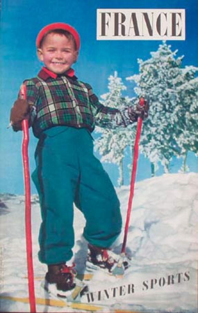 Winter Sports Original French Ski Travel Poster Kid on Skis