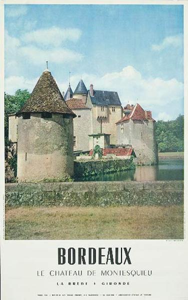 French Travel Poster Chateaux Bordeaux photo color