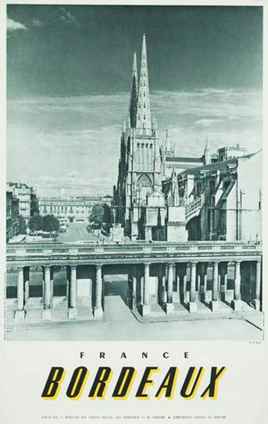 French Travel Poster Chateaux Bordeaux photo bw