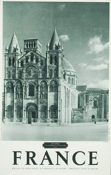 French Travel Poster Chateaux Charente Cathedral photo
