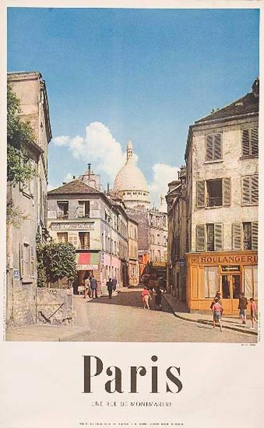 Street of Montmarte Paris Original French Travel Poster