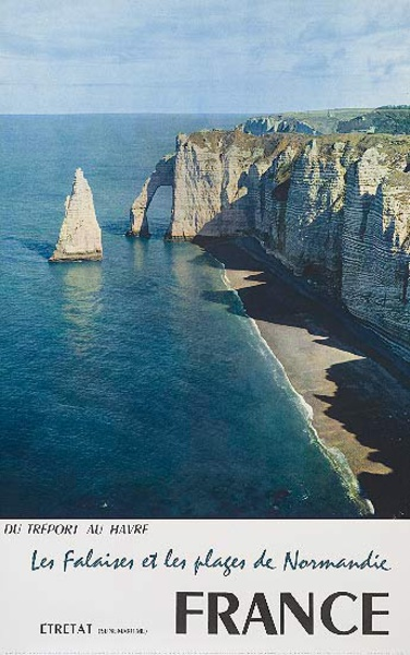 Les Plages de Normandie The Beaches of Normandie Original French Travel Poster