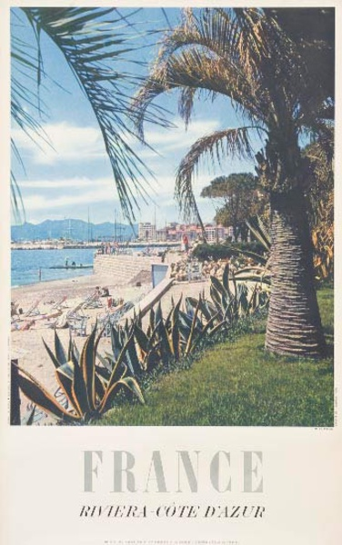 Riviera Cote d'Azur France Original French Travel Poster