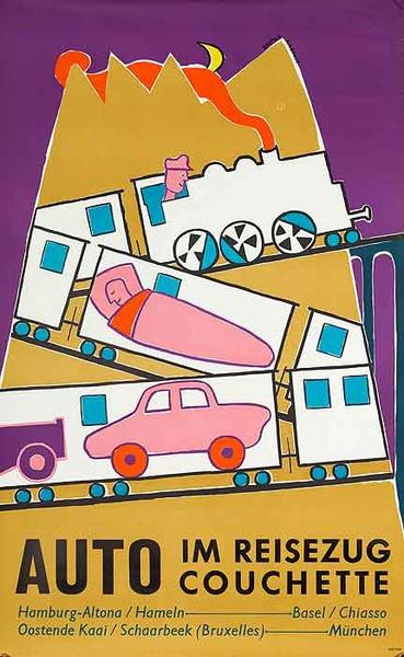 Auto Rail Original Vintage German Travel Poster