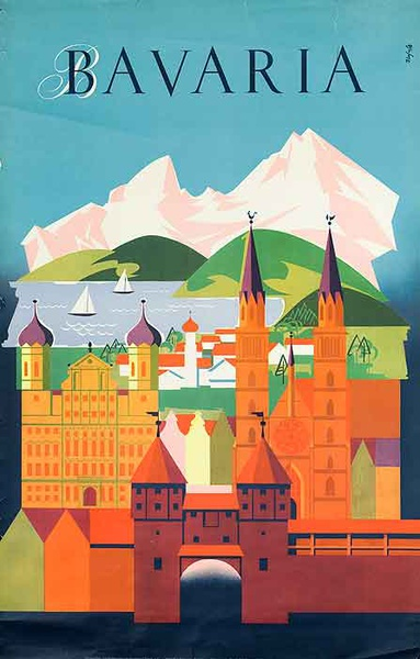 Bavaria Original Vintage German Travel Poster