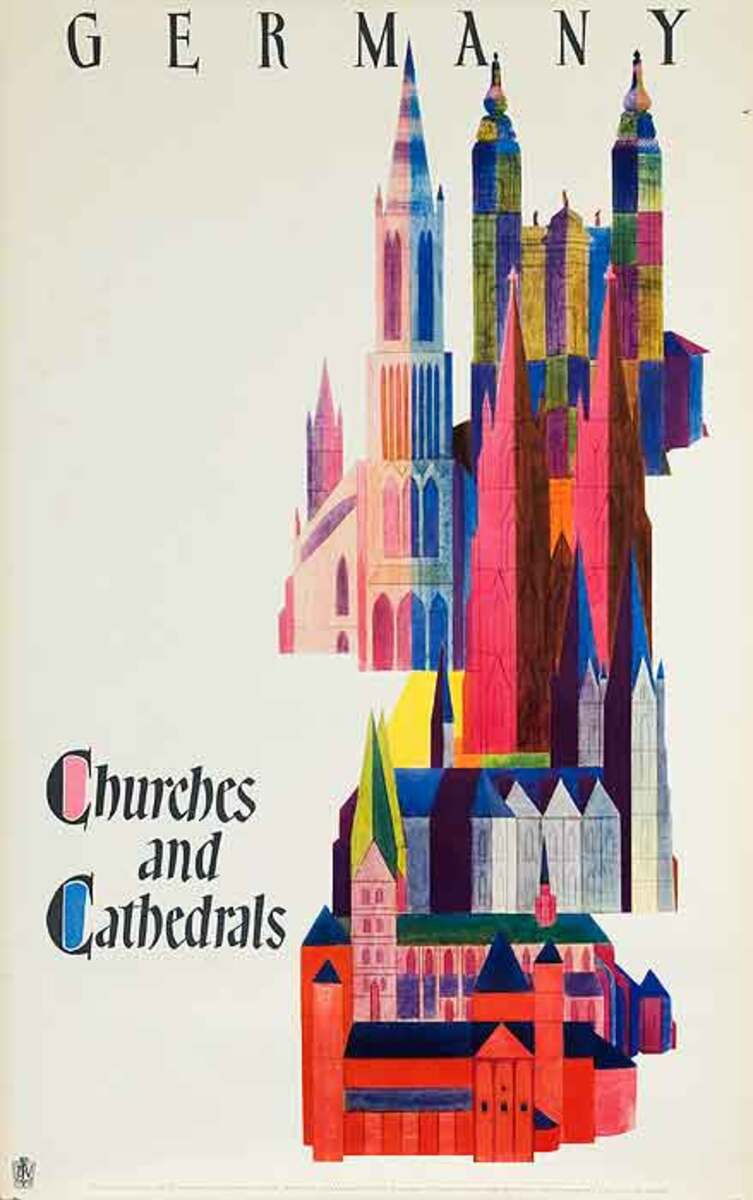 Churches and Cathederals Original Vintage German Travel Poster