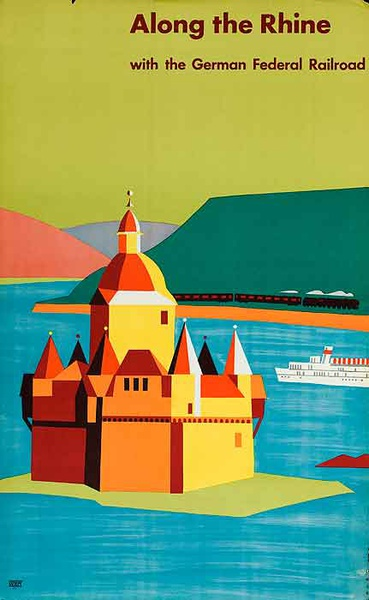 Along The Rhine German Federal Railroad Original Vintage German Travel Poster