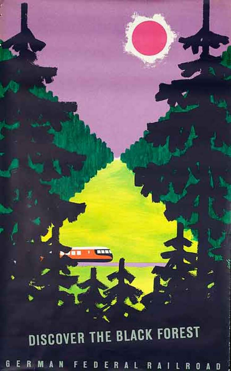 Discover the Black Forest German Federal Railroad Original Vintage German Travel Poster