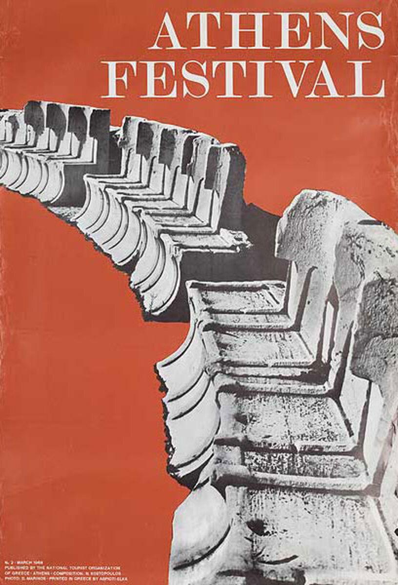 Athens Festival Original Greece Travel Poster
