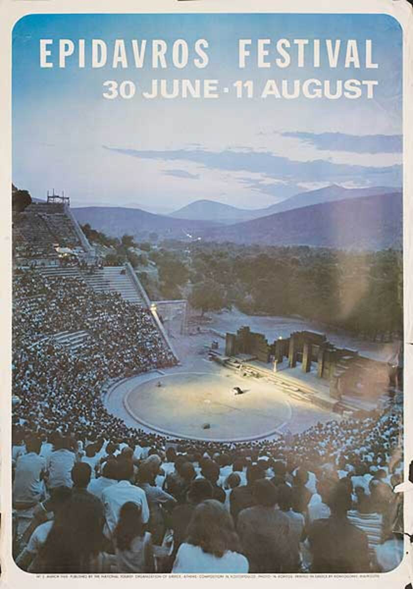 Epidavros Festival Original Greek Travel Poster