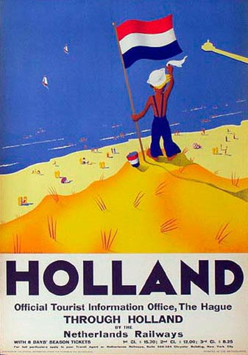Holland Original Vintage Travel Poster Beach boy