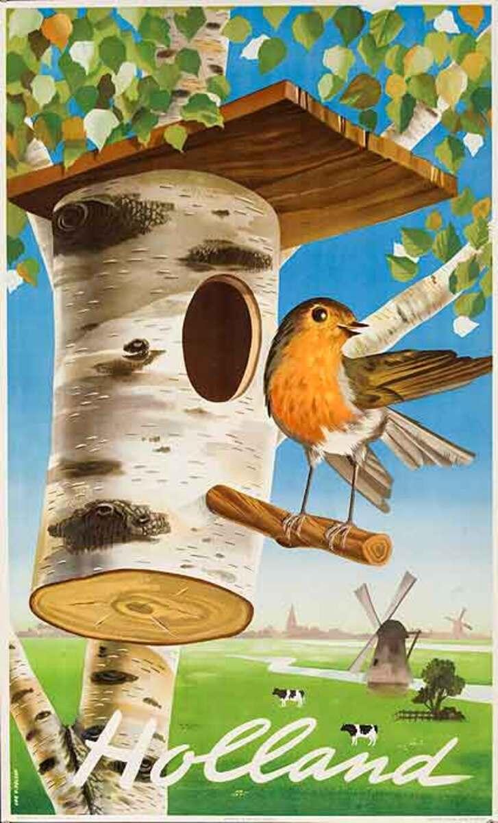 Holland Original Vintage Travel Poster Bird House