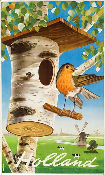 Holland Original Vintage Travel Poster Bird House