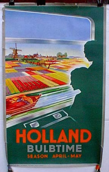 Holland Original Vintage Travel Poster Bulbtime green