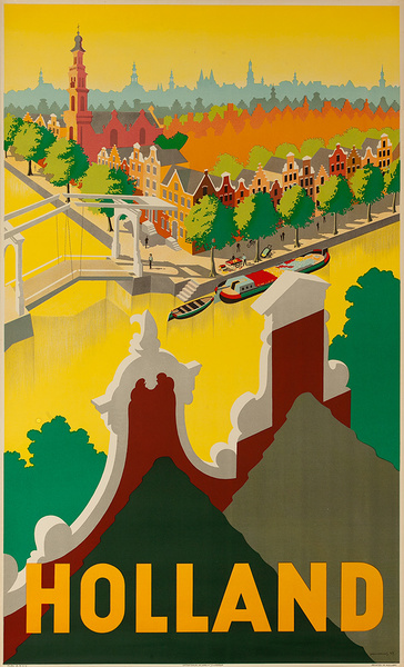 Holland Original Vintage Travel Poster Canal
