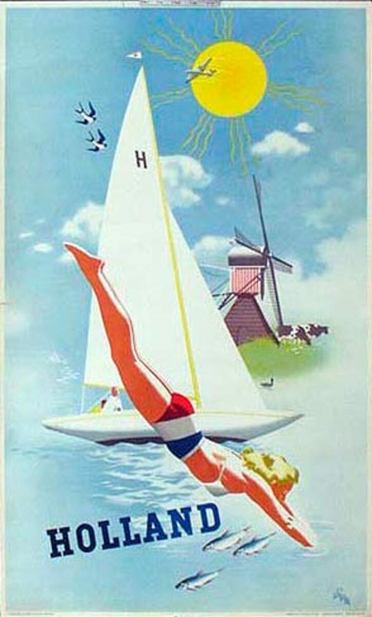 Holland Original Vintage Travel Poster Diver