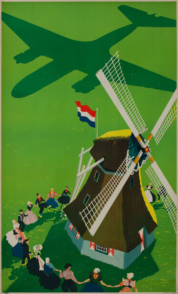 Holland Original Vintage Travel Poster Windmill