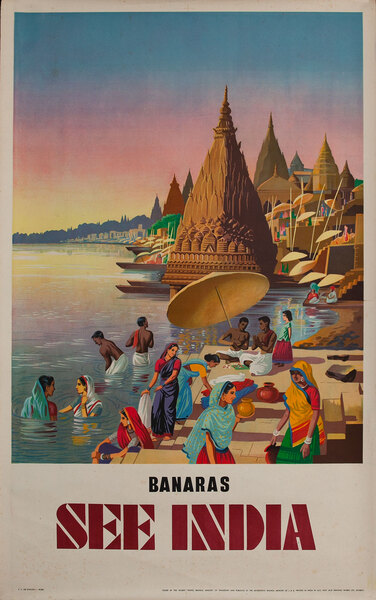 Banaras India Original Vintage Travel Poster