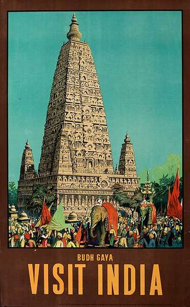 Budh Gaya India Original Vintage Travel Poster