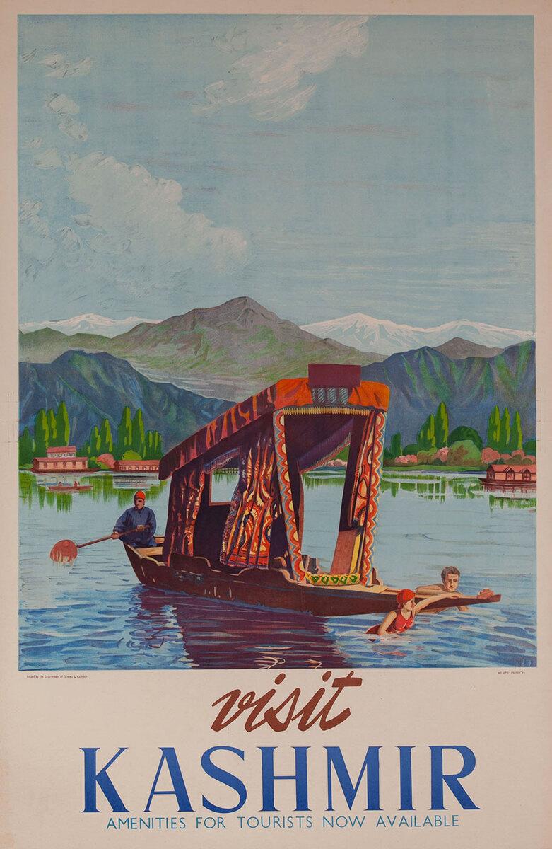 Visit Kashmir Pole Boat India Original Travel Poster