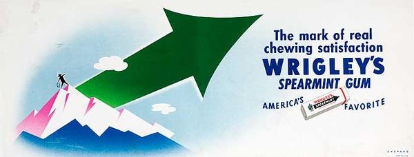 Original Vintage Advertisin  Poster Wrigleys Gum Mountain