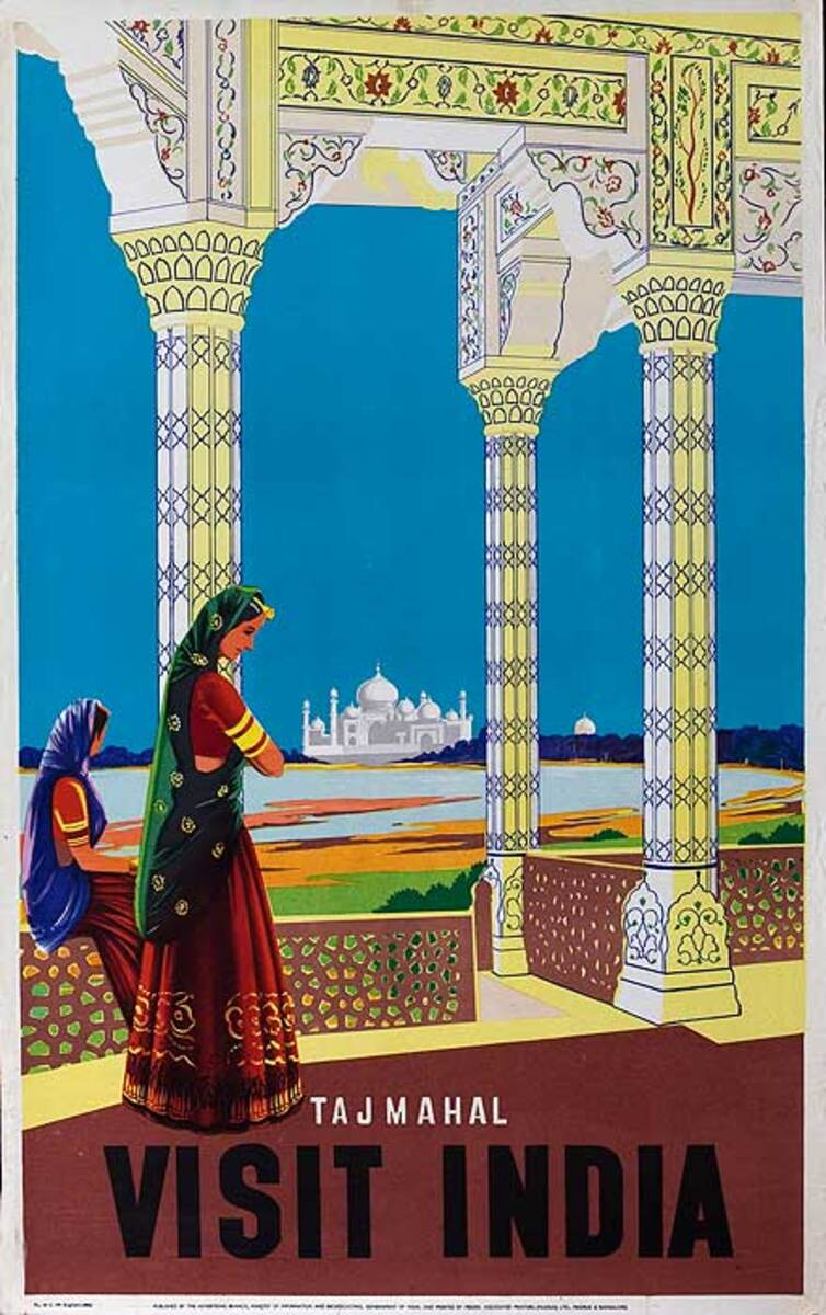 Taj Mahal Visit India India Original Vintage Travel Poster