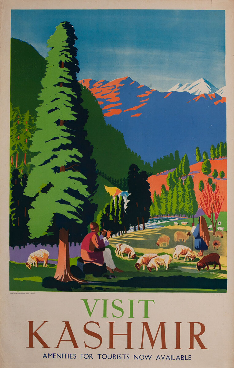 India Original Travel Poster Kashmir sheep