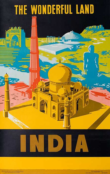 A Wonderful Land Original Vintage India Travel Poster