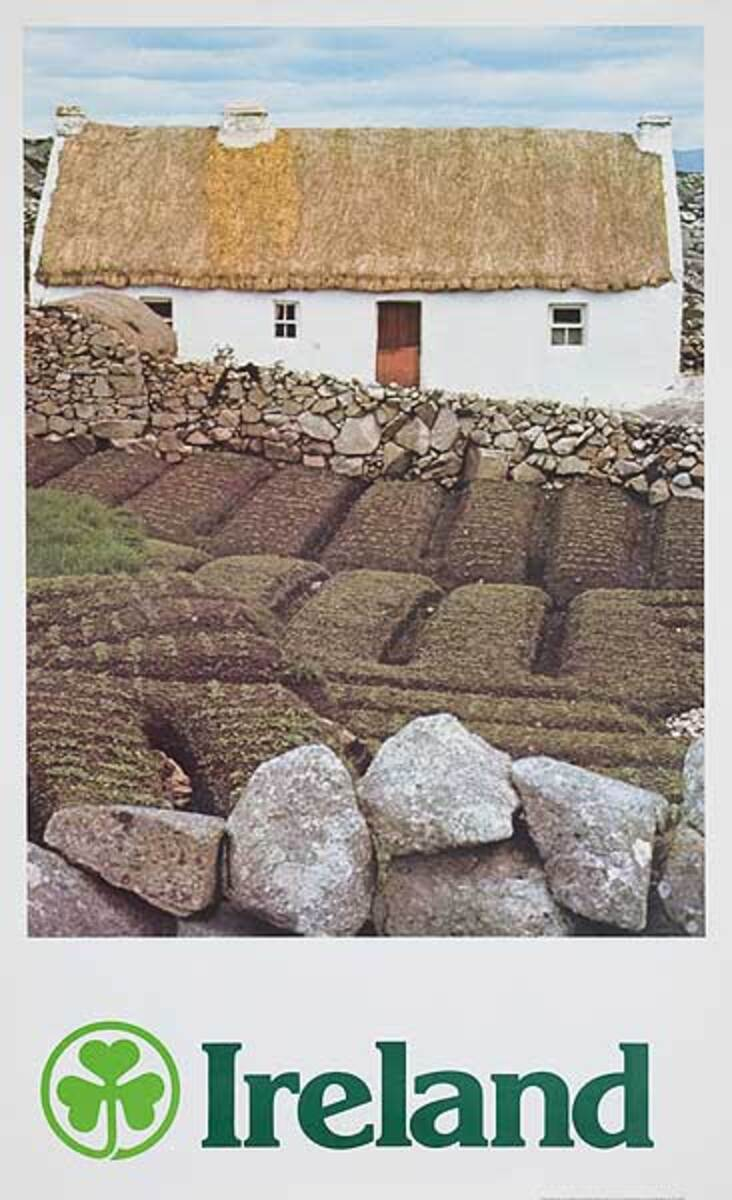Ireland Thatched House Original Travel Poster