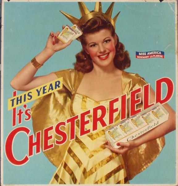 Original Vintage Chesterfield Cigarettes Miss America