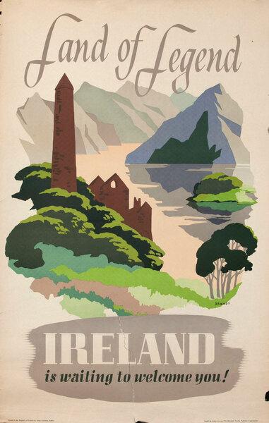 Irish Original Vintage Travel Poster Land Of Legend
