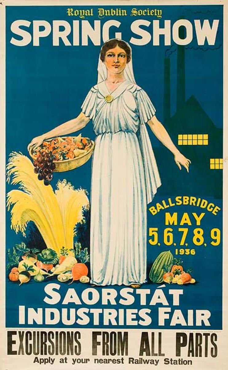 Royal Dublin Society Spring Show Saorstat Industraial Fair Original Irish Travel Poster
