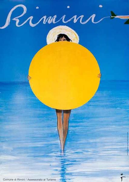 Rimini Original Italian Travel Poster Girl with Beach Umbrella