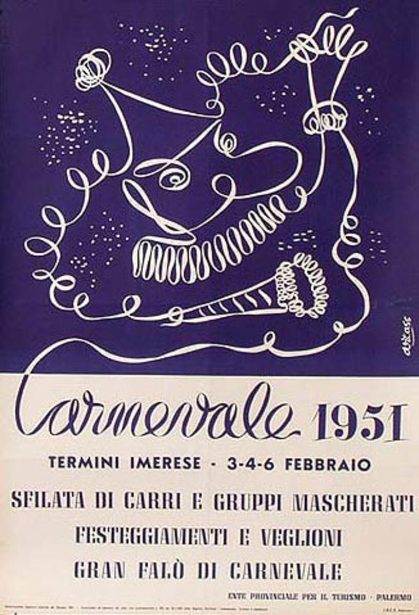 Carnival 1951 Italy Travel Poster