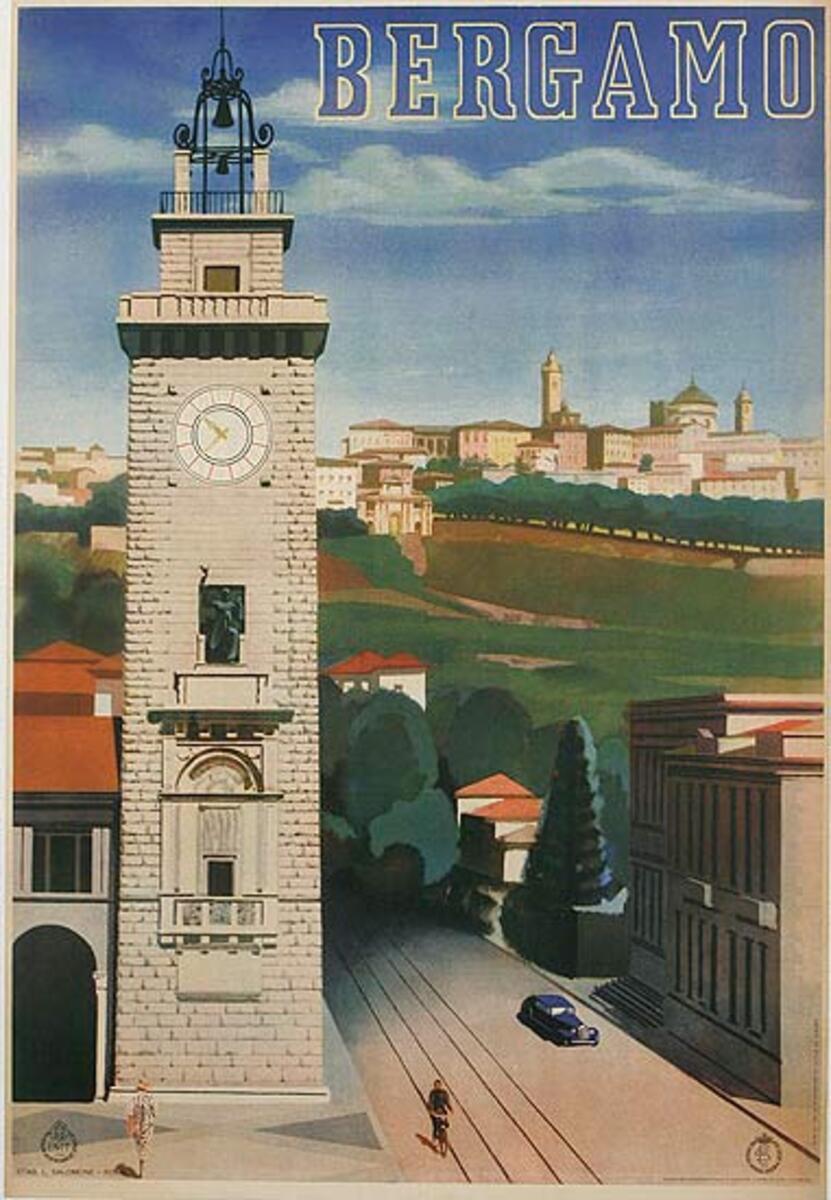 Bergamo Italy Original ENIT Travel Poster