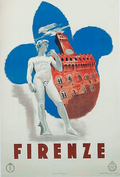 Firenza Florence Italy Original ENIT Travel Poster Statue of David