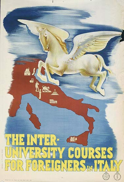 The Inter-University Courses For Foreigners in italy Original ENIT Travel Poster