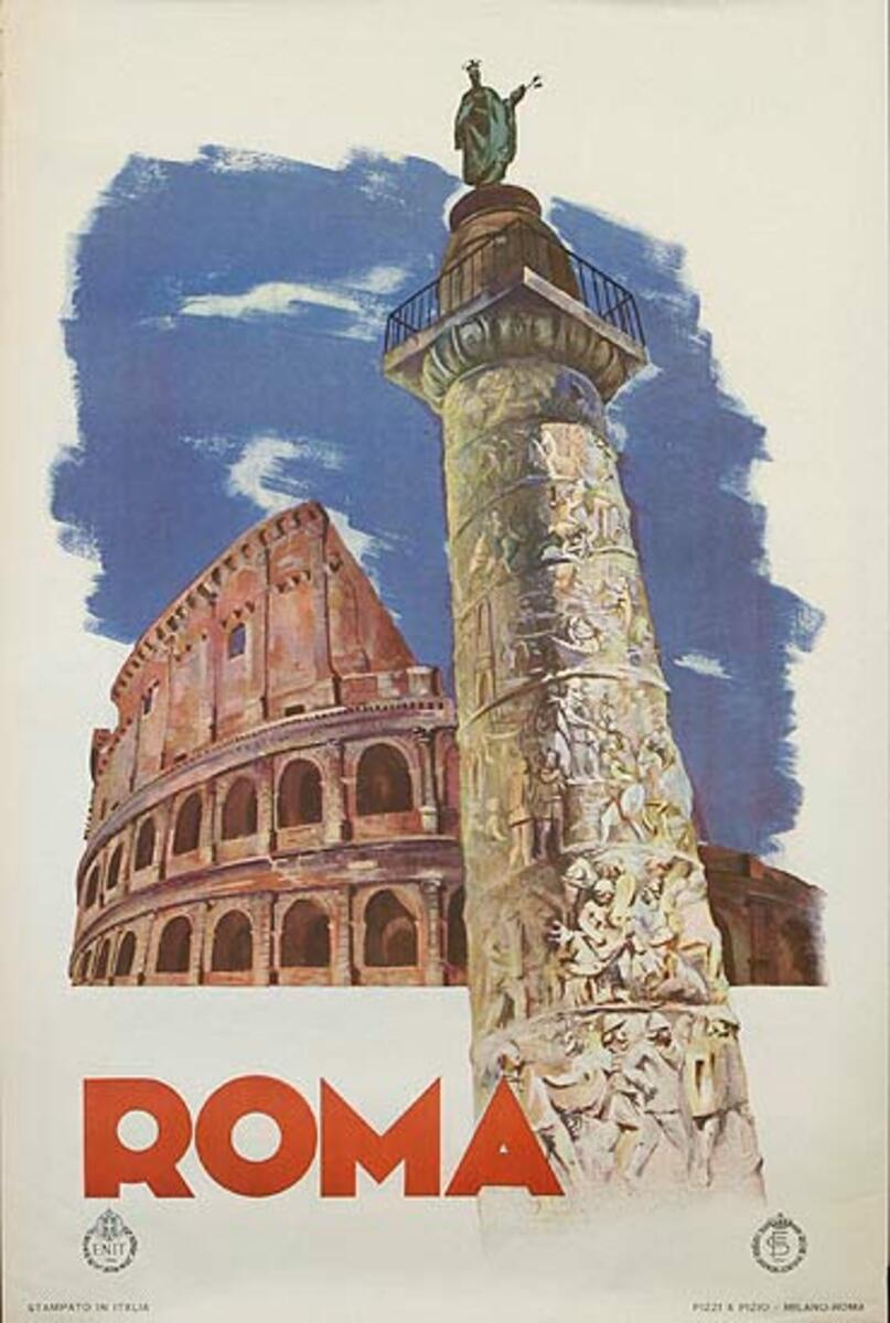 ENIT Rome Italy Original Vintage Travel Poster