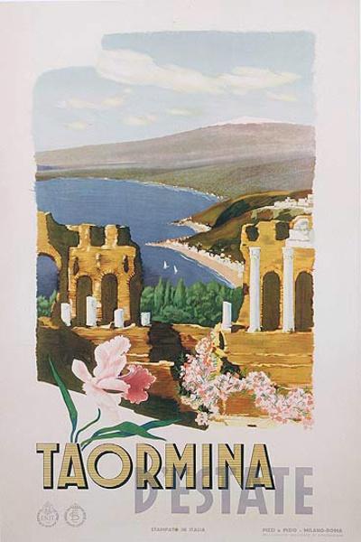 Taormina D'Estate Italy Original ENIT Travel Poster