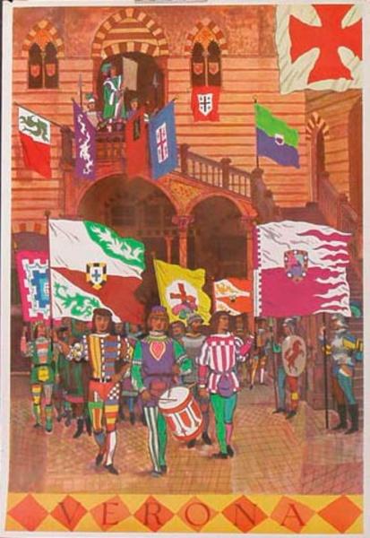 Verona Italy Original Vintage Travel Poster