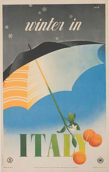 Winter in Italy Original Italian Travel Poster