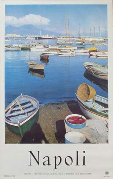 Naples Italy Boats Original Travel Poster