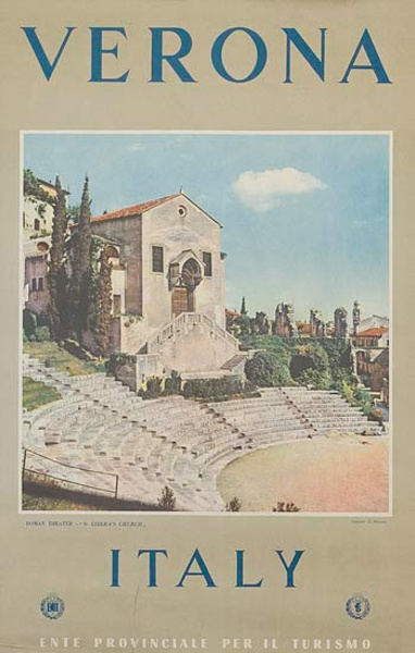 Verona Original Italian Travel Poster photo