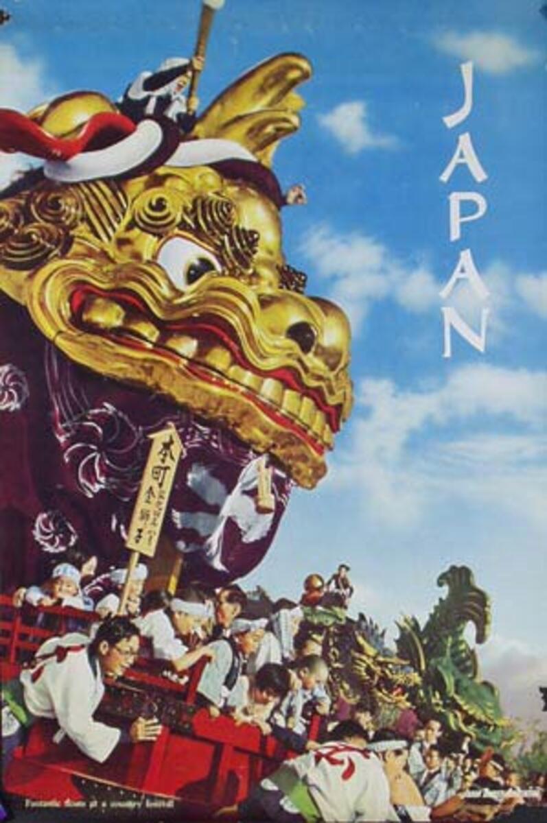 Japan Original Vintage Travel Poster Dragon