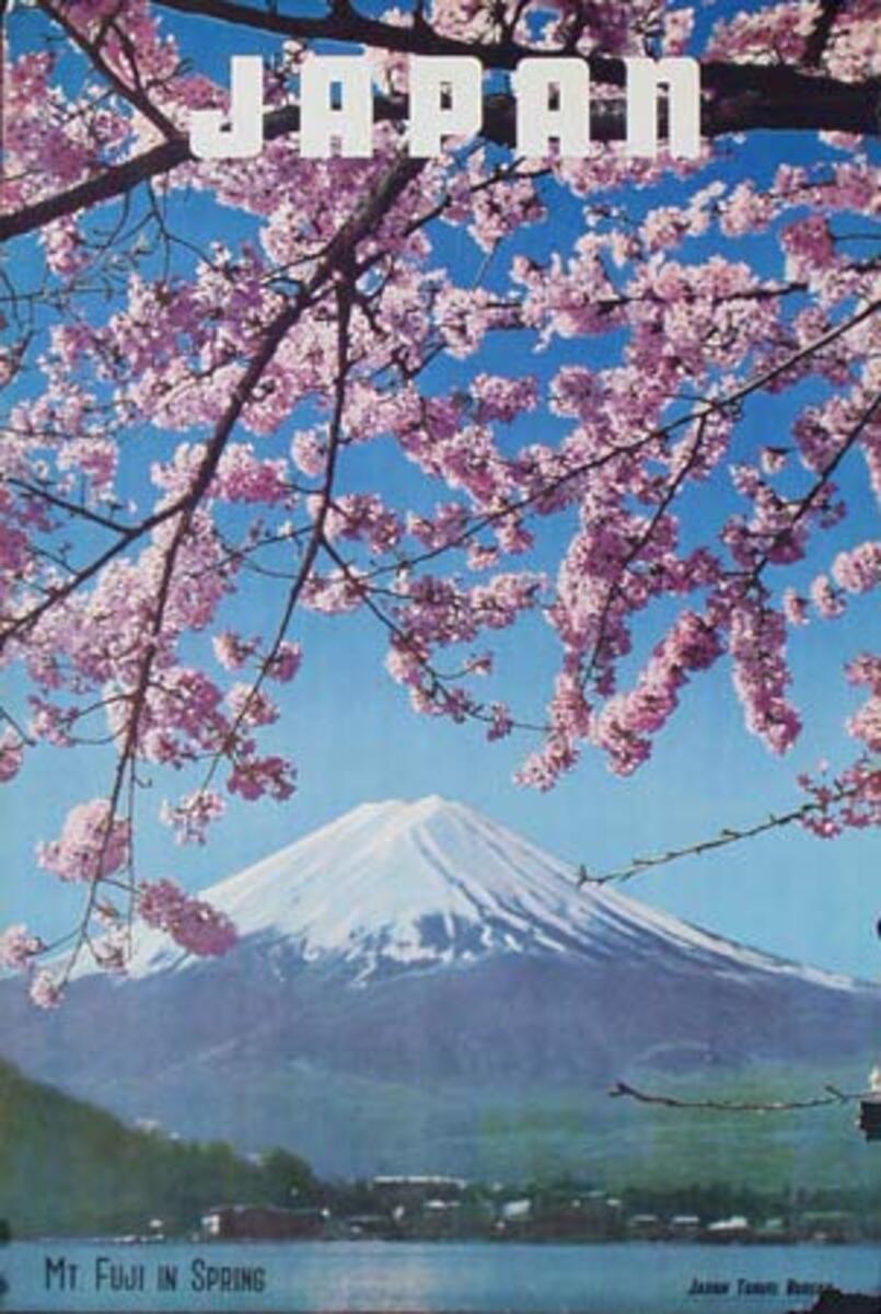 Japan Original Vintage Travel Poster Mt Fuji in Spring