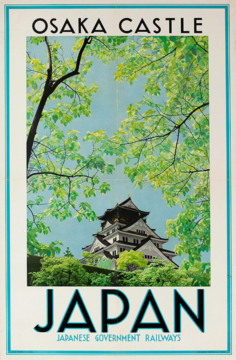 Japan Original Vintage Travel Poster Osaka Castle