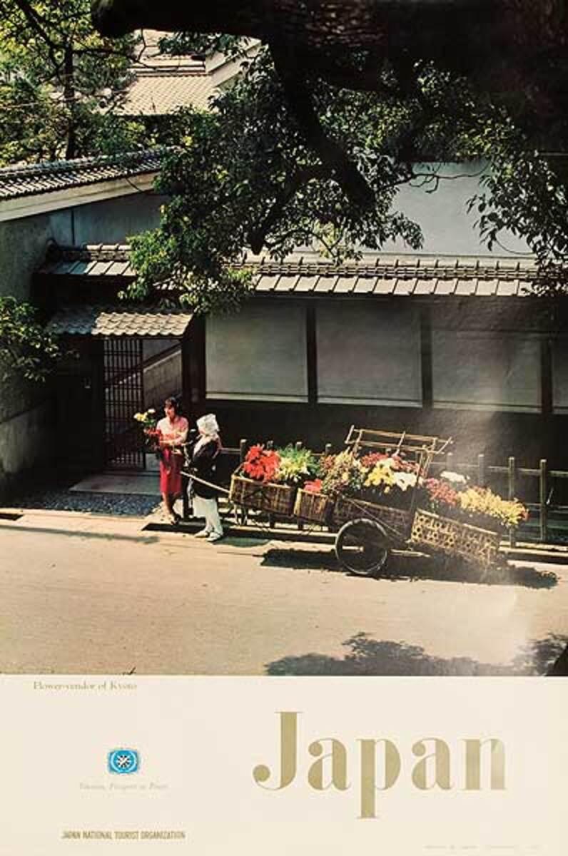 Japan Flower Vendor Kyoto Original Travel Poster