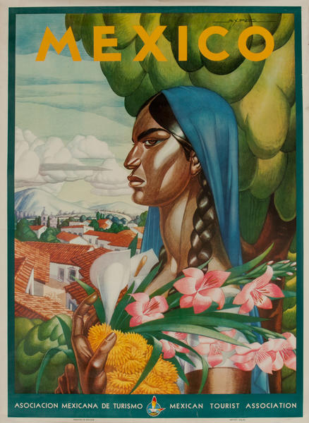 Original Mexico Travel Poster Woman with Flowers