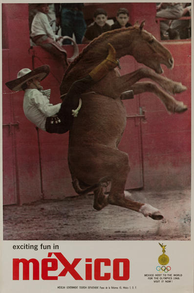 Rodeo Bronco Rider, 1968 Mexico Olympics Travel Poster